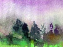 Nature fraîche de pin d'arbres forestiers de ciel de paysage de fond d'abrégé sur art d'aquarelle la belle a donné à l'imaginatio Photos libres de droits