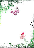 Nature frame with butterflies Stock Photo