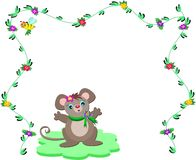 Nature Frame with Cute Mouse Stock Image