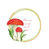 Nature frame with fall leaves and mushroom isolated on white background. Royalty Free Stock Photos