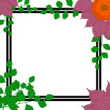 Nature frame. Green branches, purple leaves, flower daisies. Stock Photo