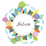 Nature frame with trees and plants Royalty Free Stock Photos