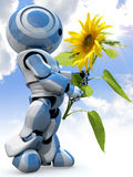 Nature Friendly Robot. A metaphorical image of a blue nature-friendly robot looking at a beautiful sunflower Stock Images