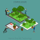 Nature Friendly Technology 3d Isometric flat man. Isometric flat People growing up plants on their tablets and smartphones and move them together vector stock illustration