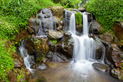 Nature garden with cascade small waterfall Stock Photo