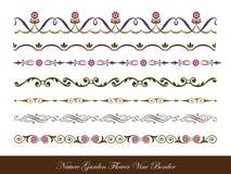 Nature Garden Flower Vine Border Collection Stock Photos