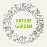 Nature Garden Line Art Icons Set Circle Stock Photography