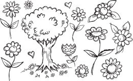 Nature Garden Sketch Doodle Set Stock Photography