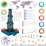 Nature gas and gas rig infographics gas production delivery and gas storing and map Stock Photo