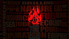 Nature gas industry relative words and shine flame Royalty Free Stock Photography