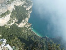 Nature. Gazing down at the sea from high in the mountains Stock Photos