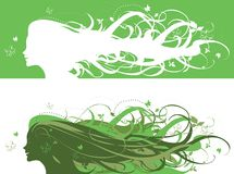 Nature girl. Vector illustration of Nature as a green haired girl Royalty Free Stock Photos