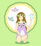 Nature girl. Girl wearing flowers surrounded by animals Royalty Free Stock Photography