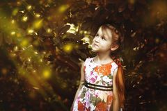 Nature, Girl, Smile, Child royalty free stock photos