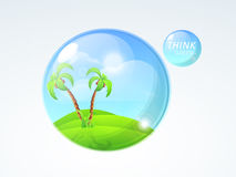 Nature in glass sphere for Save Ecology concept. Save Ecology concept with nature and Think Green text in glass sphere on shiny sky blue background Royalty Free Stock Photos