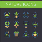 Nature and go green icons Royalty Free Stock Images