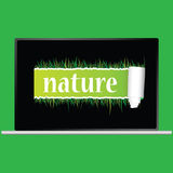 Nature with grass vector illustration. On green background Royalty Free Illustration