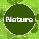 Nature Green Abstract Background Circular. Nature text written over green background Royalty Free Stock Photography