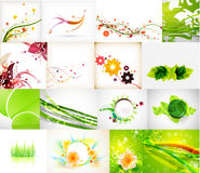 Nature green abstract backgrounds mega collection. 16 items vector illustration