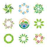 Nature green eco system beautiful wild landscape energy logo icons Royalty Free Stock Images