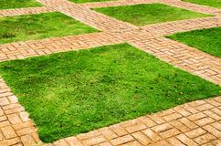 Green grass and brick paths Stock Photos