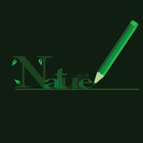 Nature in green with green wooden pen Stock Images