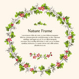 Nature green leaves vine and red flowers wreath. Royalty Free Stock Image