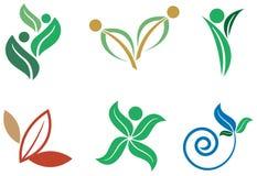 Nature green logo set. Isolated line art nature green logo set Stock Photography