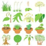 Nature green symbols icons set, cartoon style Royalty Free Stock Photo
