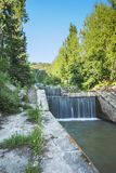 Nature of  green trees and cascade of river near Medeo in Almaty, Kazakhstan,Asia Royalty Free Stock Photo
