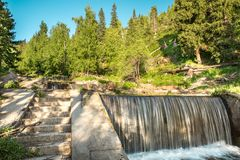 Nature of  green trees and cascade of river near Medeo in Almaty, Kazakhstan,Asia Royalty Free Stock Photos