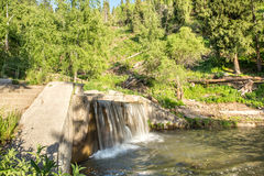 Nature of  green trees and cascade of river near Medeo in Almaty, Kazakhstan,Asia Stock Photography