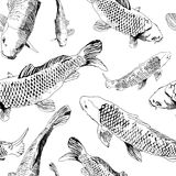 Nature hand draw seamless pattern with black contour Fish isolated on white background. Vector illustration in japanese style. Can be used as print for t-shirt Stock Photo