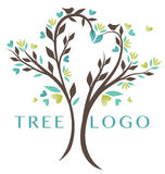 Nature Heart Tree Logo. Beautiful tree design with the branches on the tree creating a natural heart shape Royalty Free Stock Photo