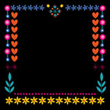 Nature hearts flowers dots frame decorative border design Royalty Free Stock Images