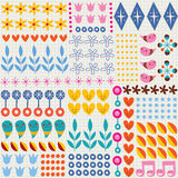Nature hearts flowers dots fun characters note book paper seamless pattern Royalty Free Stock Images