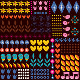 Nature hearts flowers dots fun characters seamless pattern Royalty Free Stock Photos