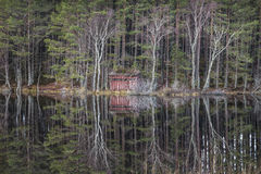 Nature hide on Uath Lochan in Glen Feshie in Scotland. Royalty Free Stock Photography