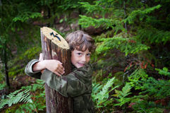 Nature hike. Young boy on a nature hike through a forest in Algonquin Park stock photography