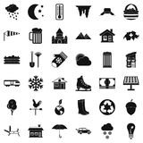 Nature house icons set, simple style Stock Image