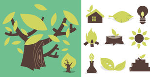 Nature icon 01. Simple icons related to nature and environment royalty free illustration