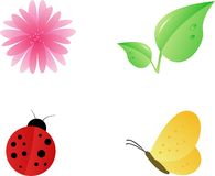 Nature icon set. Nature design elements set: pink flower, two leafs, ladybug, yellow butterfly Stock Images