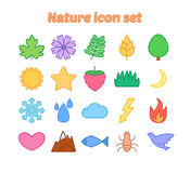 Nature icon set with outline, flat environmental vector icons. Nature icon set, colorful flat vector icons Stock Photos