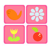 Nature icons. Colorful pink cute nature icons - fish, flower and apple Stock Image