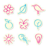 Nature Icons. On White Background Stock Photos