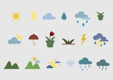 Nature icons and accessories stock illustration