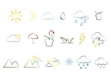 Nature icons and accessories royalty free illustration