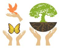 Nature Icons with hands. Vector set Royalty Free Stock Photos