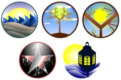 Nature icons stock illustration
