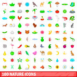 100 nature icons set, cartoon style Stock Photo